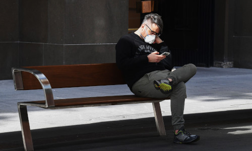 A man using his smartphone.
